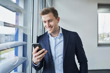 Businessman Using Cell Phone A...