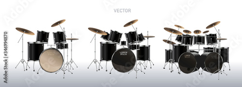 Realistic drum kit. Set of Drums. Vector. Wallpaper Mural