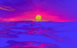 Leinwandbild Motiv 3d render. Beautiful sea sunset, the sun above the water among the clouds. Psychedelic. Interesting background for your blogs, banner, flyer, desktop, poster, magazine, branding, advertising.