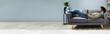 Leinwanddruck Bild - Man Using Digital Tablet On Sofa