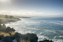 Misty Beach Scene On The Kohala Coast Of Hawaii.