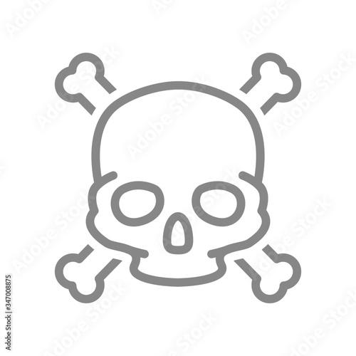 Skull with crossbones line icon Canvas Print