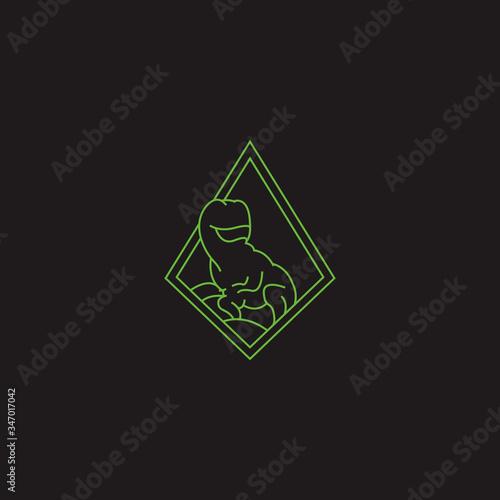 Photo Minimalist dinosaurus logo vector line style