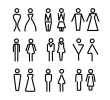 Vector Set Of WC Icons Isolated On A White Background. Washroom Icon. Restroom Sign. Gender Icon. Male And Female Sign Collection. Gender Symbols. Man And Woman Icon