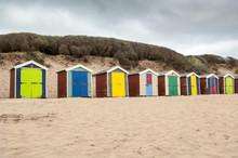 View Of Multi Colored Beach Huts