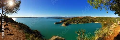 Panoramic View Of Sea Against Clear Blue Sky Wallpaper Mural