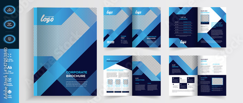 Fotografie, Tablou Creative Multipurpose Blue Brochure flyer template design, booklet template in a