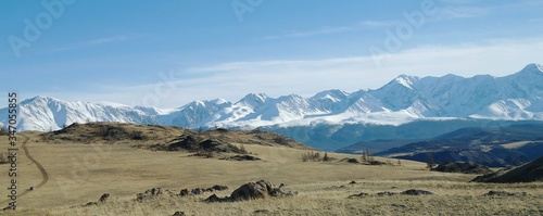 View Of Landscape With Snowcapped Mountain In Background #347055855