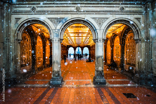 Snow Falling in front of Bethesda Terrace in Central Park New York City Wallpaper Mural