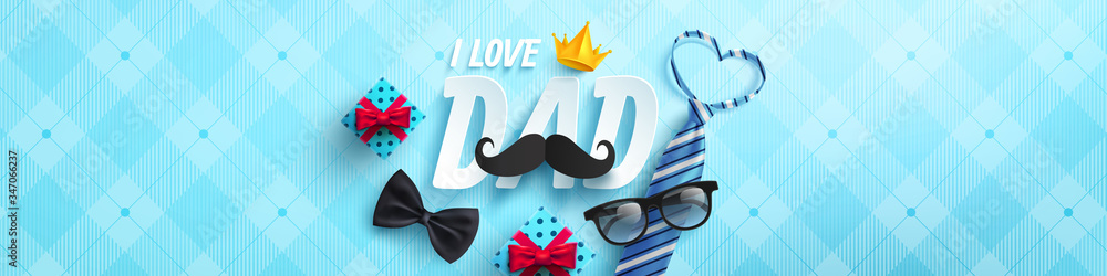 Fototapeta Happy Father's Day poster or banner template with necktie,glasses and gift box on blue.Greetings and presents for Father's Day in flat lay styling.Promotion and shopping template for love dad concept