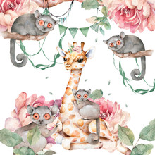 Poster With Cute Giraffe And M...
