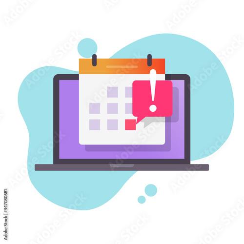 Fényképezés Deadline date caution message or event reminder on calendar on laptop computer v