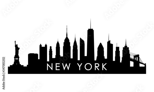 New York skyline silhouette. Black New York city design isolated on white background.