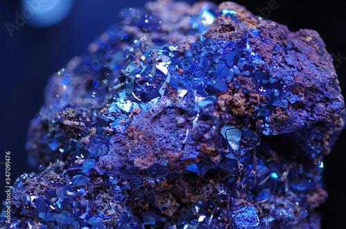 Royal blue azurite mineral stone Canvas Print