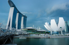 Skyline Of Singapore Marina Ba...