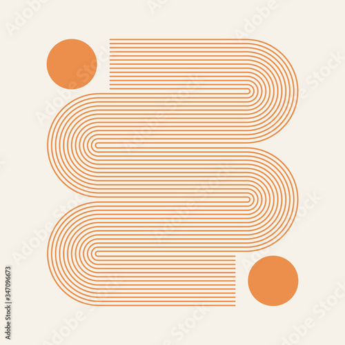 Abstract contemporary aesthetic background with geometric Sun lines Fototapeta
