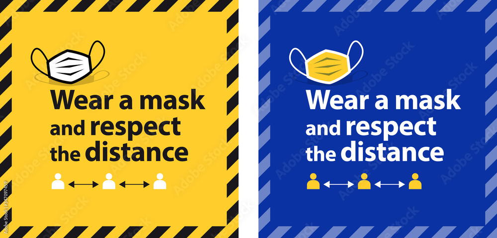 Fototapeta Wear a mask and respect the distance