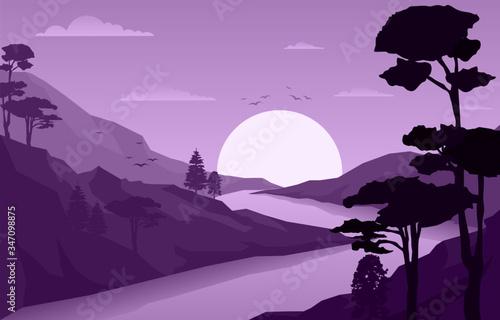 Fototapeta Sunrise Sunset Mountain Forest Wild Nature Landscape Monochrome Illustration obraz