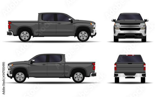 Fototapeta realistic car. truck, pickup. front view; side view; back view.
