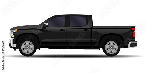 realistic car. truck, pickup. side view. Canvas