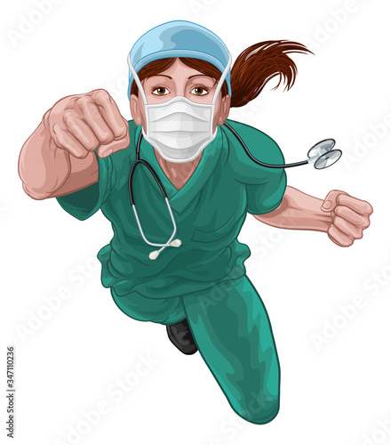 A super hero woman doctor or nurse concept. A female medical healthcare professional as a superhero flying through the air. Wearing face mask PPE