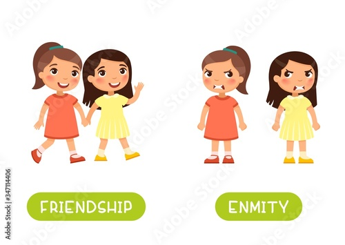 Two little girls quarrel and friends illustration with typography Canvas Print