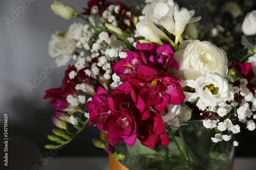 Beautiful bouquet with spring freesia flowers, closeup