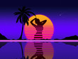 canvas print picture - background with the evening sun and a silhouette of a woman in the style of retrowave in the neon sky with stars, palm tree and reflection in the water