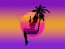 Background With The Evening Sun And A Silhouette Of A Woman With A Revolver And A Palm Tree In The Style Of Retrowave In The Neon Sky With Stars