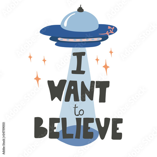 I want to believe - hand drawn vector lettering Canvas Print