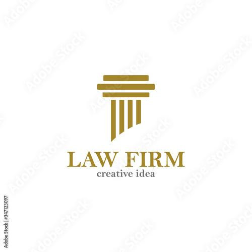 Fotomural pillar - law logo vector design template