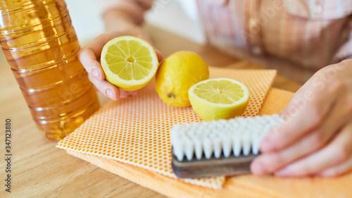 Zitronen und Essig für ein biologisches Putzmittel Canvas Print