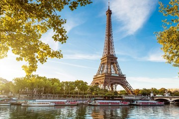 Boat In River Against Eiffel Tower
