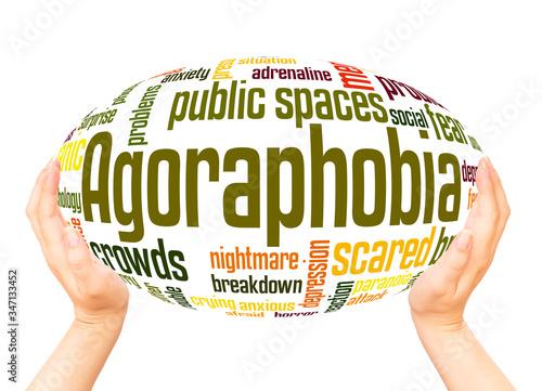 Photo Agoraphobia fear of public spaces word hand sphere cloud concept