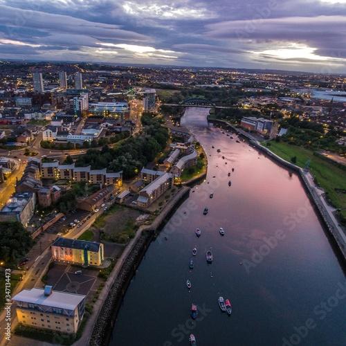 Obraz Aerial View Of City Of Sunderland At Sunset - fototapety do salonu