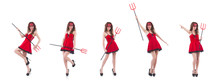 Woman As Red Devil In Hallowee...