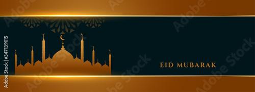 Fototapeta stylish golden eid mubarak festival wishes banner obraz