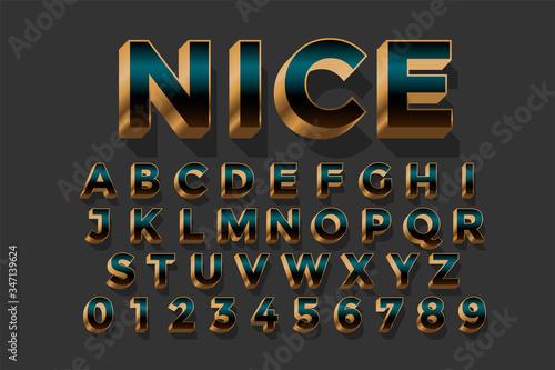 Fototapeta 3d golden royal luxury text effect  design set obraz