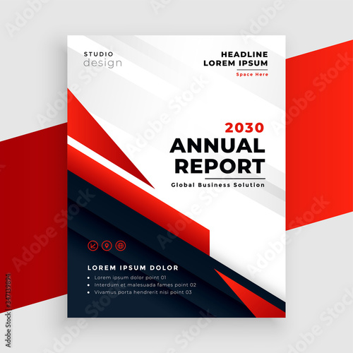Fototapeta red annual report or business flyer template design obraz