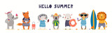 Fototapeta Child room - Hand drawn card, banner with cute animals on the beach, text Hello Summer. Vector illustration. Isolated on white. Scandinavian style flat design. Concept for kids holidays print, invite, poster.