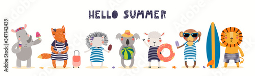 Hand drawn card, banner with cute animals on the beach, text Hello Summer Slika na platnu
