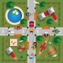 Children's Playground With People. View From Above. Vector Illustration.