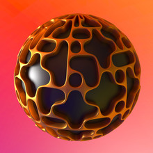 Black Ball With Abstract Volumetric Golden Pattern