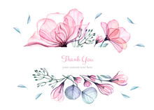 Watercolor Floral Card Template. Bouquet With Big Pink Roses, Turquoise Leaves. Thank You Custom Text. Isolated Hand Drawn Illustration With Abstract Background For Logo, Wedding Stationery