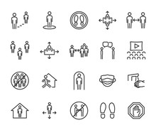 Vector Set Of Social Distance Line Icons. Contains Icons Safe Distance, Self-isolation, Avoiding Crowds, Stay Home, Talking At A Distance, Safe Workplace, And More. Pixel Perfect.