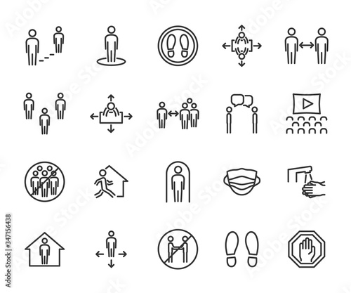 Tablou Canvas Vector set of social distance line icons