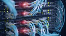 Fiber Optic And Hub. Blue Cabl...