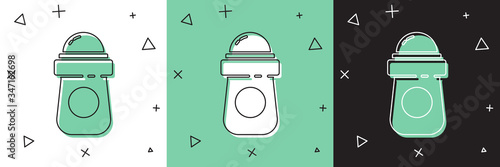 Set Antiperspirant deodorant roll icon isolated on white and green, black background Wallpaper Mural