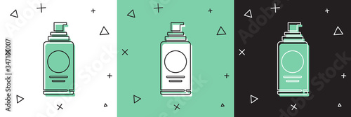 Photo Set Spray can for hairspray, deodorant, antiperspirant icon isolated on white and green, black background