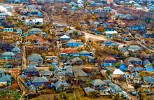 A Fabulous Village Of Moldova. Newly Whitewashed Blue Houses Before Easter. UNESCO-National Park Old Orhei.
